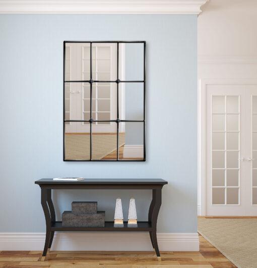 Mirabel black trim room setting window mirror