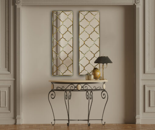 marrakesh moroccan classic wall mirror with a gold trim room setting 2