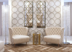 marrakesh moroccan classic wall mirror with a gold trim room setting
