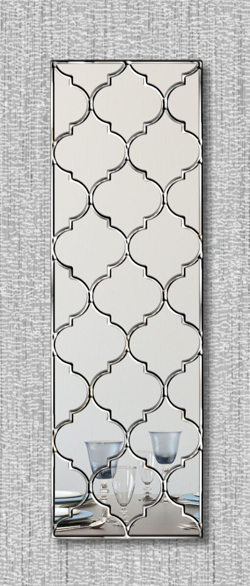marrakesh moroccan classic wall mirror with a silver trim