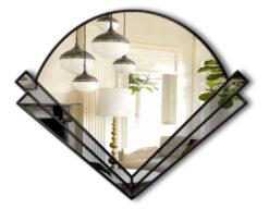 Clarice grey tint black trim art deco wall mirror