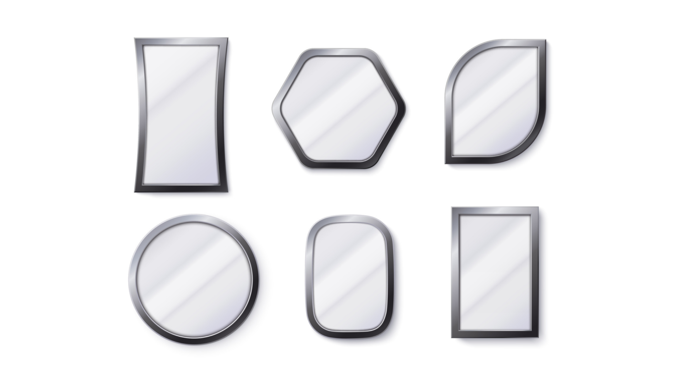 different shapes of wall mirrors